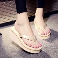 夏季韩版时尚高跟人字拖女厚底坡跟凉拖防水台沙滩鞋防滑夹脚拖鞋 35 女款