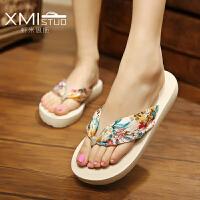 巴厘岛拖鞋女夏时尚外穿波西米亚人字拖中跟厚底防滑夹脚沙滩凉拖