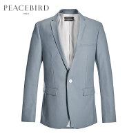 【开学季1件2.5折,到手价:149元】太平鸟男装 灰色单粒扣绅士商务西装西服B1BB71501