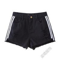 高腰牛仔短裤女夏季2018韩版牛仔短裤女宽松黑色短裤