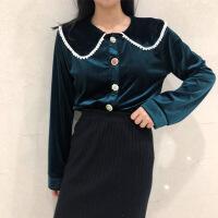 №【2019新款】冬天年轻人穿的韩范网红气质长袖金丝绒娃娃领黑色衬衫心机上衣女 均码