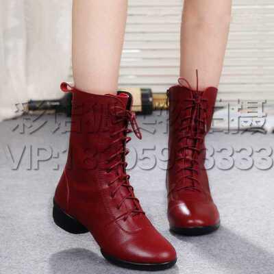 新潮时尚舒适舞蹈鞋软底增高跳舞靴子 广场舞靴女式百搭耐磨防滑高帮跳舞靴子