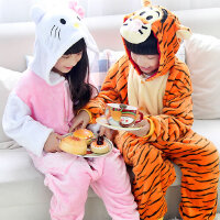 演出服跳跳虎儿童连体睡衣法兰绒卡通动物秋冬男童女童学生