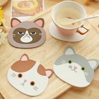 创意陶瓷杯垫隔热垫水杯垫子 餐垫碗垫硅胶垫防热垫餐桌垫卡通猫