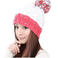 毛线帽子女秋冬天保暖米/黄/粉/白色球球针织帽子