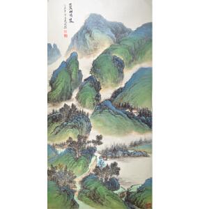 中国山水画协会会员 髡山  《夏山晴岚》66*136cm