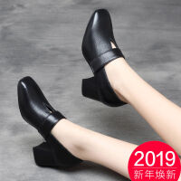 高跟鞋女士粗跟单鞋2019新款春秋季女鞋子中跟方头百搭时尚小皮鞋 35 标准码