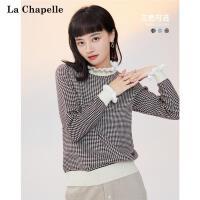 拉夏贝尔 宽松韩版娃娃领格纹毛衣女2020年秋冬季新款打底针织衫