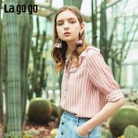 【5折价163】Lagogo/拉谷谷预售2019夏季新款时尚系带条纹上衣女IASS323G13