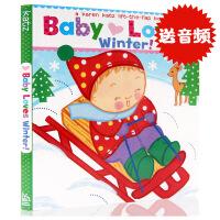 英文原版Baby Loves Winter!: A Karen Katz Lift-the-Flap Book 宝宝爱