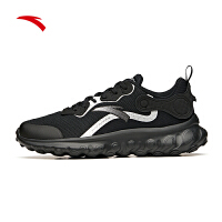 安踏�\�有�男鞋黑色�W面跑步鞋春季2021新款男士休�e鞋112115582