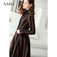 Amii极简学院风时尚条纹毛呢外套2018冬新款长款翻领双排扣外套
