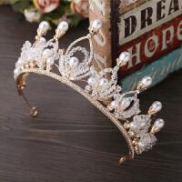 巴洛克复古新娘头饰金色彩钻水晶串珠皇冠结婚王冠婚纱礼服配饰品
