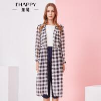 海贝夏季新款女装 休闲翻领长袖收腰系带格子中长款衬衫轻薄防晒衬衫
