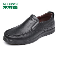 木林森皮鞋男士商务休闲男鞋 秋季新款牛皮软面轻便舒适套脚单鞋77053121