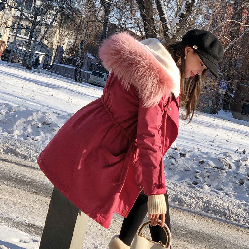 谜秀羽绒服女中长款2017冬装新款韩国收腰东大门大毛领加厚外套潮