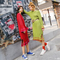 七格格红色秋冬连衣裙女新款中长款法式少女长裙修身针织衫裙