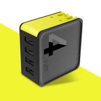 【新品】 �O果充�器iphone6充��^6s多口USB插�^X快充2A安卓8手�C5s通用7p 【黑色|四口】4A共享版智能