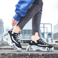 新款休闲鞋鞋子女秋季休闲运动鞋女韩版老爹鞋厚底丑鞋百搭学生女鞋 飞翔-8020黑色