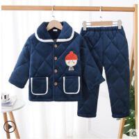 冬季三层加厚夹棉宝宝男孩女童大童珊瑚绒保暖家居服套装儿童睡衣