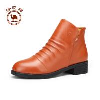 骆驼牌 女鞋 冬季舒适保暖皮靴子女士百搭套脚休闲鞋靴