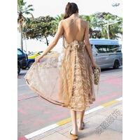 波西米亚度假沙滩裙蕾丝露背中长裙性感气质连衣裙仙女 图片色