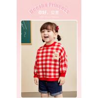 【2件1.8折价:69】笛莎童装女童针织衫2021秋季新款小女孩儿童时尚洋气格纹套头上衣