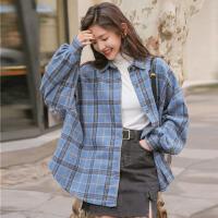 衬衫 女士格子2020春季单排扣灯笼袖新款韩版宽松气质长袖翻领上衣女式学生衬衣外套