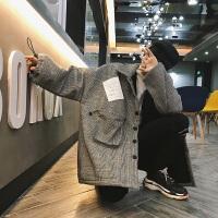 冬装韩国时尚男外套中长款羊羔绒加厚港风时尚千鸟格棉衣男女潮