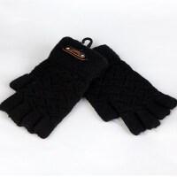 漏五指手套男女冬季无指短款学生写字针织保暖手套韩版大提花半指 黑色 黑色漏指 均码