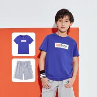 【秒杀叠券预估价:44】361度童装 男童套装运动服2021年夏季新品儿童运动套装休闲套装N52021405