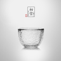 当当优品 锤目纹品茗杯-初雪(圆口) 光阴系列 加厚玻璃茶杯 功夫茶具 50ml