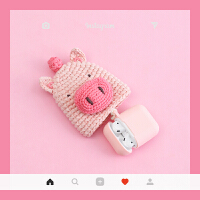 编织毛线苹果无线蓝牙耳机airpods保护套针织卡通可爱硅胶盒子壳 小猪 1/2代airpods通用