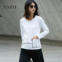 Amii2017秋女涂鸦线印花口袋套头大码长袖T恤11770198