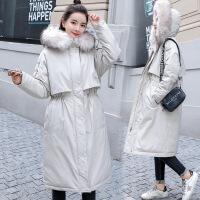 冬季工装外套过膝棉袄女2018新款学生中长款羽绒加厚港风棉衣 白色 M