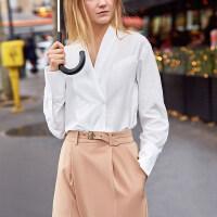 【到手价:143元】Amii极简chic设计感欧货通勤衬衫2019秋季新款翻领落肩袖双扣上衣