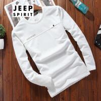 吉普JEEP男士长袖T恤男装圆领t恤2018春装新品打底衫男式长袖t恤