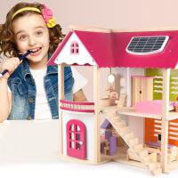 升级版粉色公主娃娃别墅木质房子小屋过家家DIY益智组装木制玩具 周岁生日圣诞节新年六一儿童节礼物
