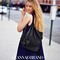 双肩包女软皮两用包包新款潮羊皮百搭时尚休闲旅行背包女 黑色