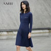 Amii优雅气质 纯棉连衣裙女秋新款拉链长袖A字裙