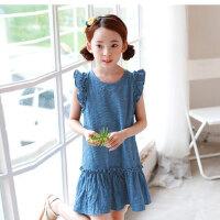 夏装童装韩版女童连衣裙无袖中大童水洗牛仔童裙