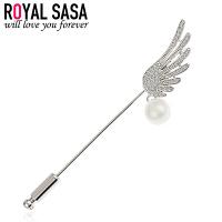 皇家莎莎胸针插针天使翅膀仿水晶仿珍珠日韩国版胸花衬衣开衫饰品