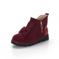 舞玛小皮靴宝宝加毛保暖童靴公主短靴女童靴子2017新款冬季牛皮冬靴