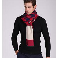 新款男士商务格子围巾 气质双面超长两用大披肩保暖围脖