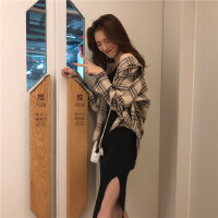 时尚套装女秋装2018新款韩版长袖衬衫外套吊带连衣裙休闲两件套潮 均码