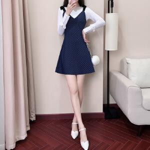 卡茗语2017秋装新款女韩版条纹长袖连衣裙两件套显瘦吊带裙子套装裙秋季