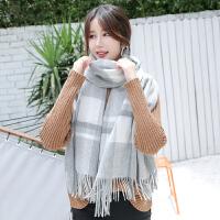羊毛围巾女秋冬季春秋季长款披肩羊绒冬天格子英伦年轻人