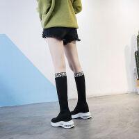 不掉筒过膝靴秋冬新款飞织弹力袜子鞋气垫厚底内增高休闲长靴子女
