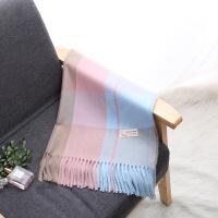围巾女冬季韩版学生小清新日系保暖混色格子围巾仿羊绒两用披肩 70*200cm