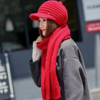 新款兔毛毛线帽子女秋冬天防风保暖套装时尚潮百搭鸭舌针织贝雷帽